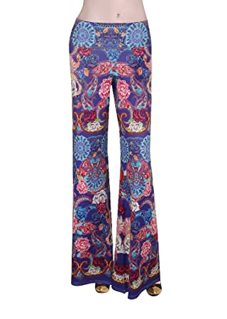 b31cdec43c5 MITIAO Women s Plus Size Floral Print Boho Pants Sandy Beach Wide Leg Parallel  Palazzo Trousers