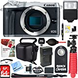 Canon EOS M6 24.2MP Mirrorless Digital Camera - Silver (Body Only) + 64GB Class 10 UHS-1 SDXC Memory Card + Accessory Bundle