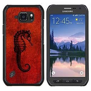 EJOOY---Cubierta de la caja de protección para la piel dura ** Samsung Galaxy S6Active Active G890A ** --Seahorse Red