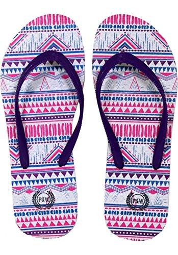Moda De Beaute Ugly Christmas Sweater Chanclas Tribal Thong Sandal Slipper Púrpura Blanco Y Rosa