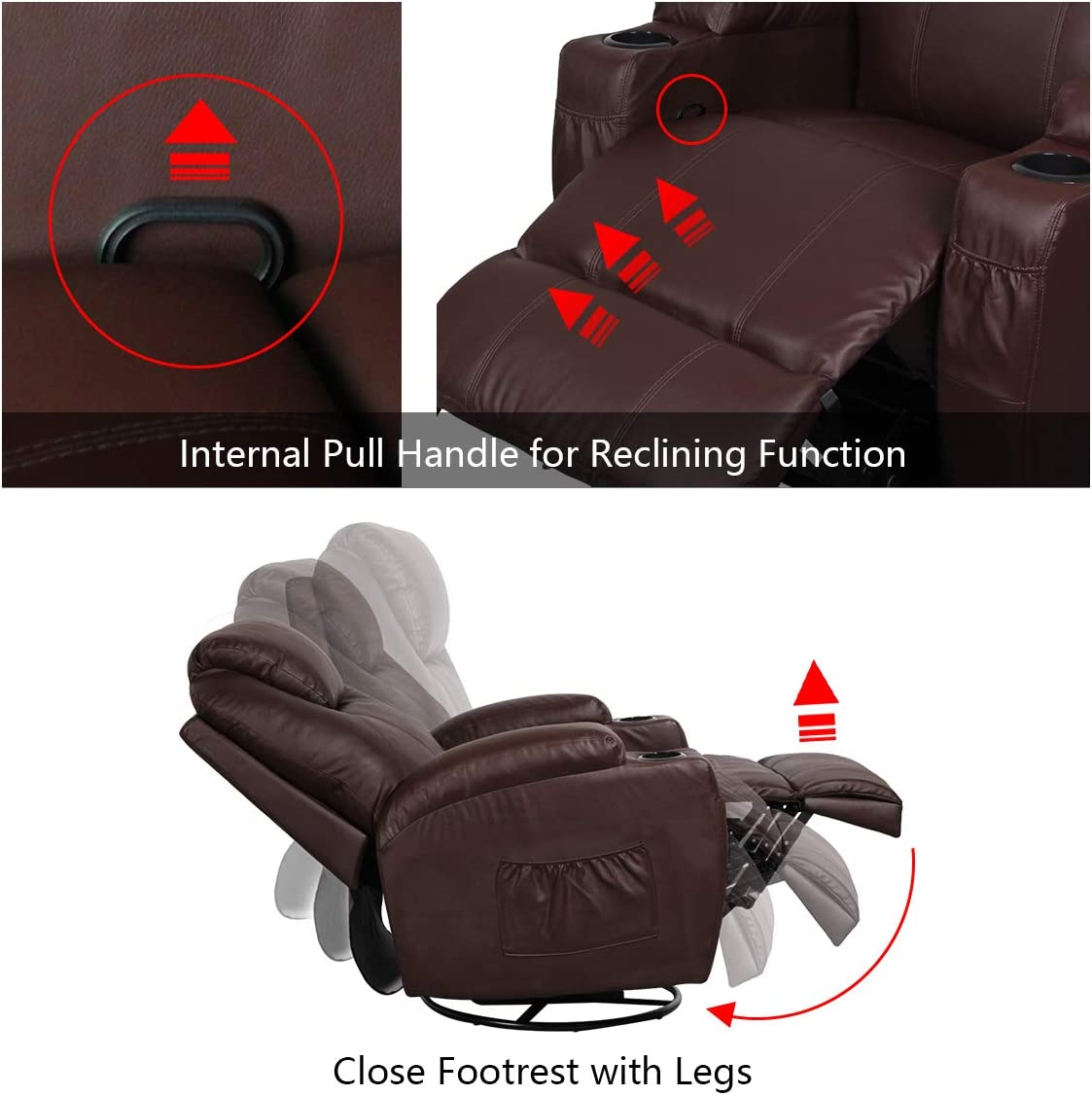 Esright Massage Recliner Chair Heated PU Leather Ergonomic Lounge Chair 360 Degree Swivel, Brown