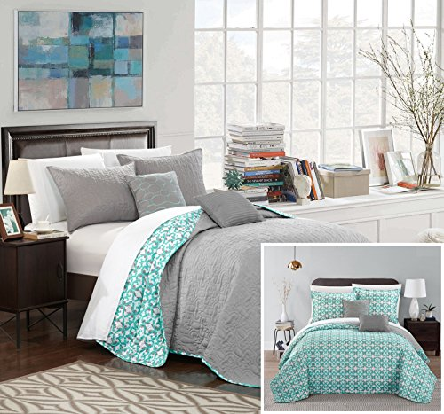 Chic Home Anat 5 Piece Quilt Set, King, Grey, 5