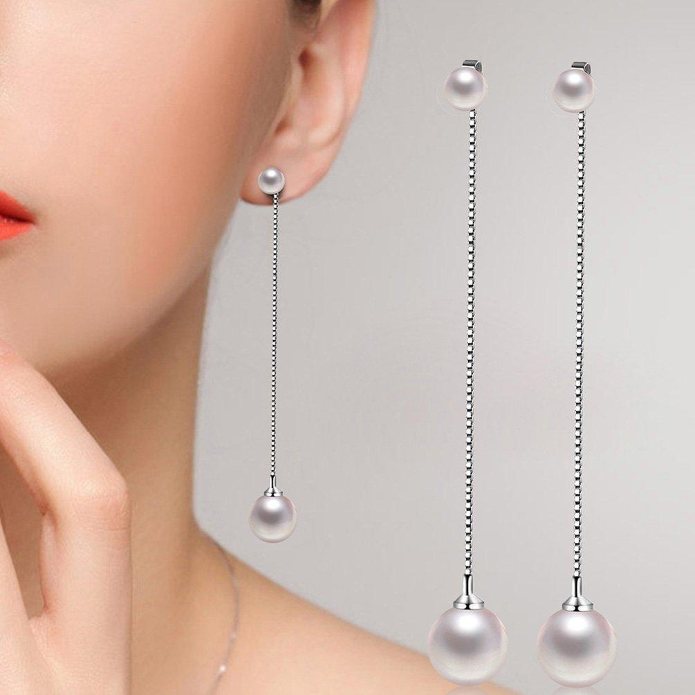 clou d/'oreille et longue cha/îne blanc avec perles synth/étiques pour femmes Amesii Boucles d/'oreilles pendantes tendance