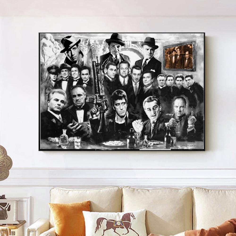 LIANGRAN Abstrakt Poster Plakat Und Drucke Leinwandbilder Kunst Gangster Pate Goodfellas Film Wandbilder F/ür Wohnzimmer Wohnkultur Kein Rahmen 30X50Cm