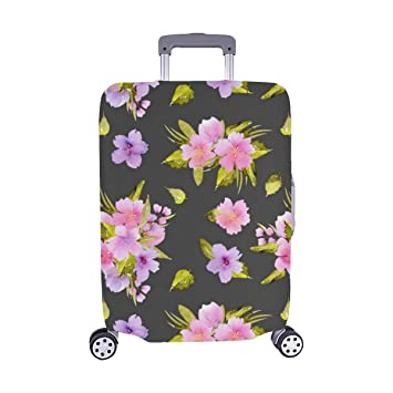 Floral Leaves Flowers Spandex Trolley Case Travel Luggage Protector Suitcase Cover 28.5 X 20.5 Inch