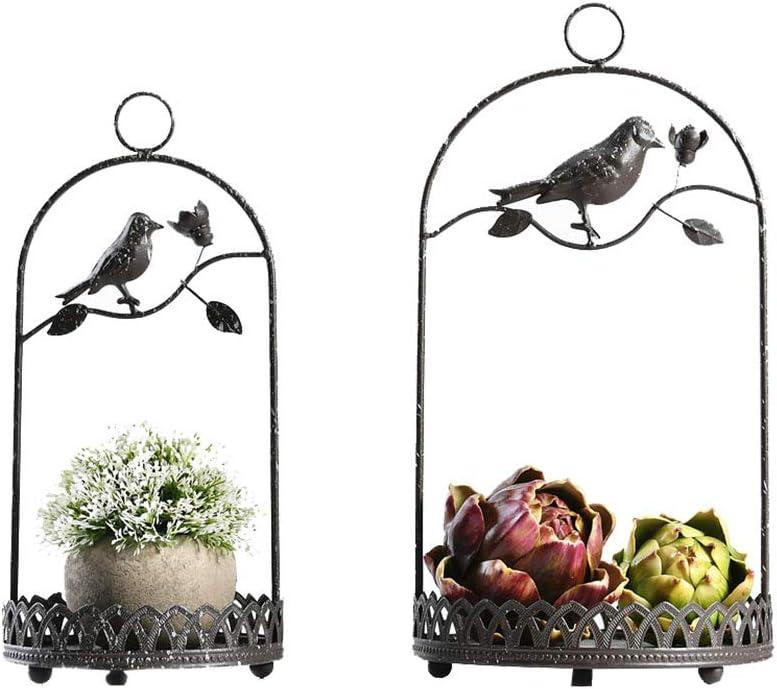 Colgar cesta de flores, jaula de pájaros Decoración Soporte de hierro Estante de almacenamiento de escritorio Soporte de plantas Plantas artificiales Bandeja redonda para flores y suculentas - Paqu