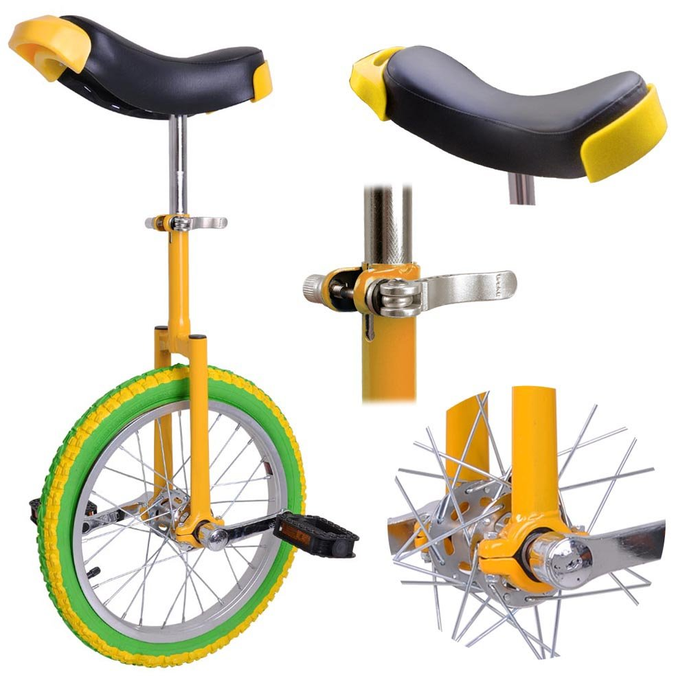 AW 16'' Inch Wheel Unicycle Leakproof Butyl Tire Wheel Cycling Outdoor Sports Fitness Exercise Yellow Green