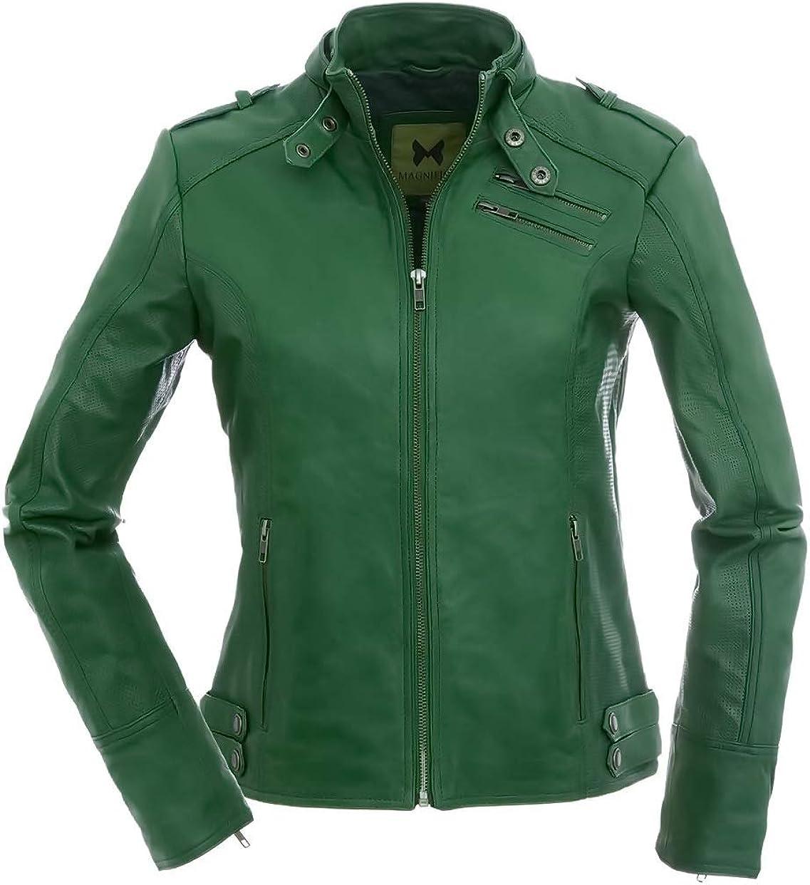 Magnifica Las Mujeres Deportivas-Chaqueta Piel, Color Verde Oscuro