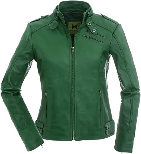 TALLA 44. Les femmes Sportives - Chaqueta de piel de color verde oscuro