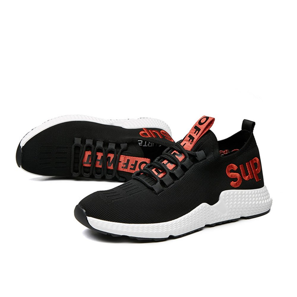 Black Red WWJDXZ Trainers Sneaker Spring and Summer Breathable Casual shoes Male Running shoes Red and Black (24.0-27.0 cm)