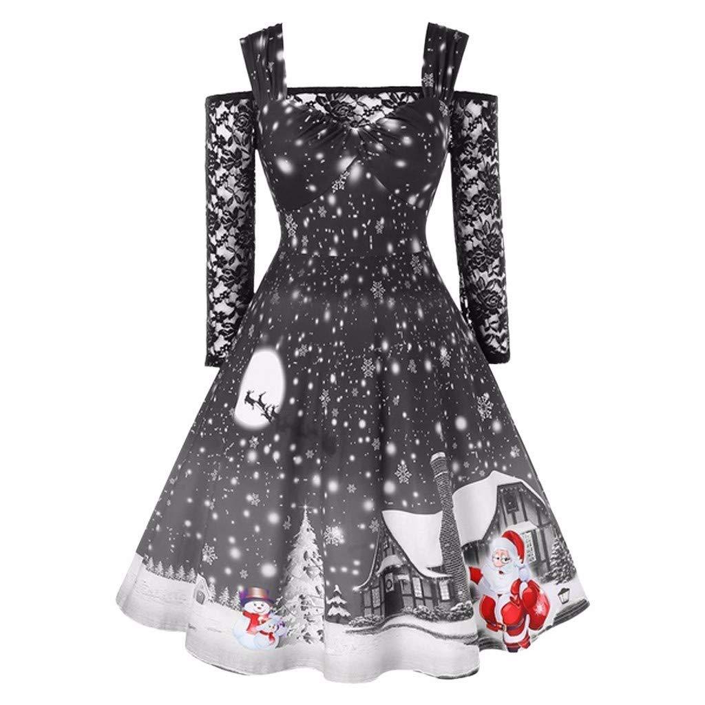 TAOtTAO Fashion Women Cold Shoulder Lace T Shirt Patchwork Christmas Print Vintage Dress