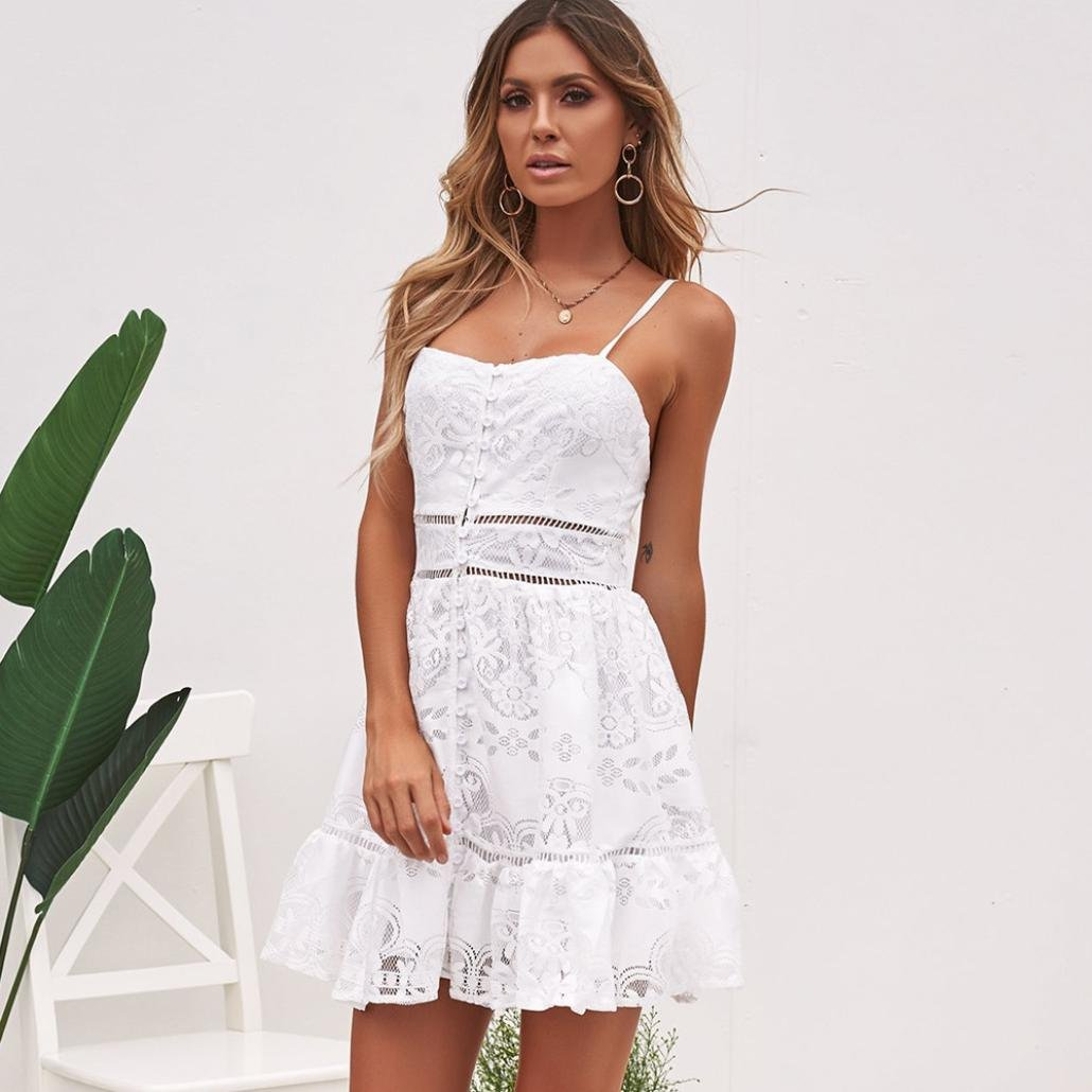 ... De Las Mujeres del Verano De La Flor Atractiva Strappy Sling Vacaciones CóModa Playa SPA Ruffles Backless White Lace Dress: Amazon.es: Ropa y accesorios