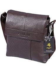 Videng Polo PS33 Top Grain Genuine Cow Leather Business Brifecase Messenger Crossbody Shoulder Bag for Men
