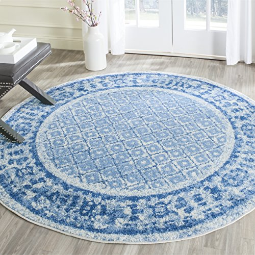 Safavieh Adirondack Collection ADR110D Silver and Blue Vintage Distressed Round Area Rug (6' Diameter)