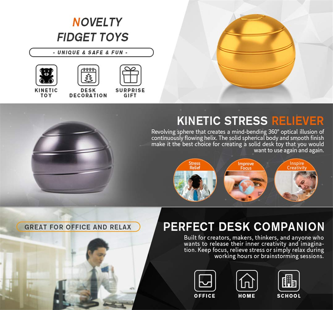 Desk Fidget Toys Safe for Adults & Kids New Version Metal Stress Reliever Kinetic Spinning Ball Unique Physics Art Gadget for Office & Home Anti Anxiety ADHD Relief Autism Relief Relaxation  (Gold) by SIWAN-TOY (Image #2)