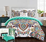 Chic Home 4 Piece Karen Reversible Boho-inspired print and contemporary geometric patterned technique King Duvet Cover Set Aqua