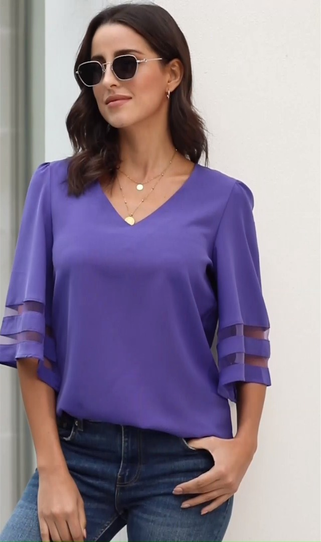 luvamia Women's Casual V Neck Blouse 3/4 Bell Sleeve Mesh Panel Shirts Loose Top 5