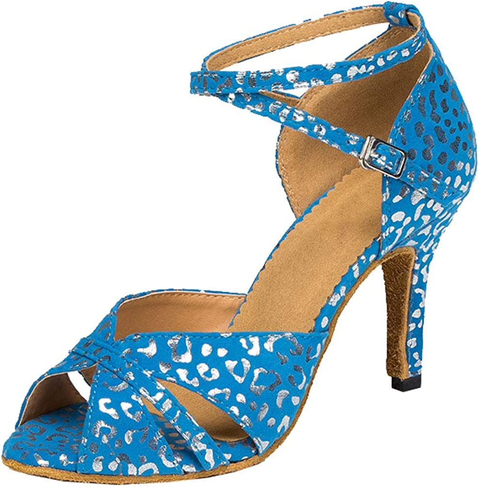 3.15IN Womens Latin Dance Ballroom Shoes Tango Cha-cha Salsa ChaCha Party Prom 0018 Blue US Size6
