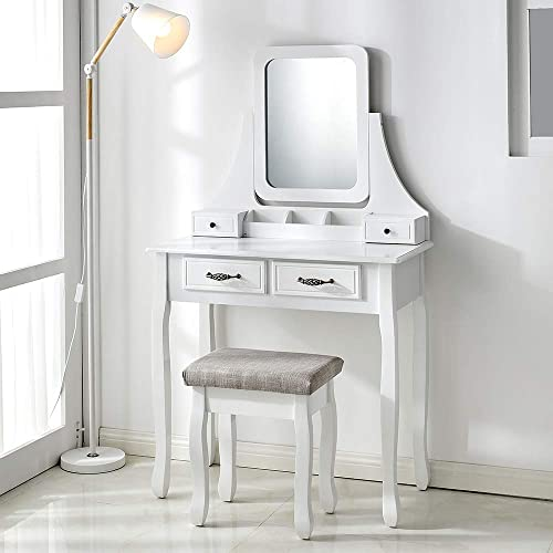 Vanity Table Set with Mirror Cushioned Stool Dressing Table Vanity Makeup Table 4 Drawers for Girls Women, White
