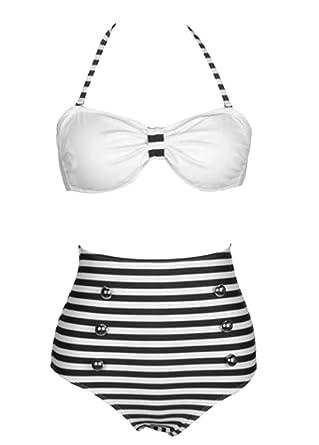 c37b1883d4 Amazon.com: Losorn Women Pinup Rockabilly Vintage High Waist Bikini  Swimsuit Swimwear: Clothing