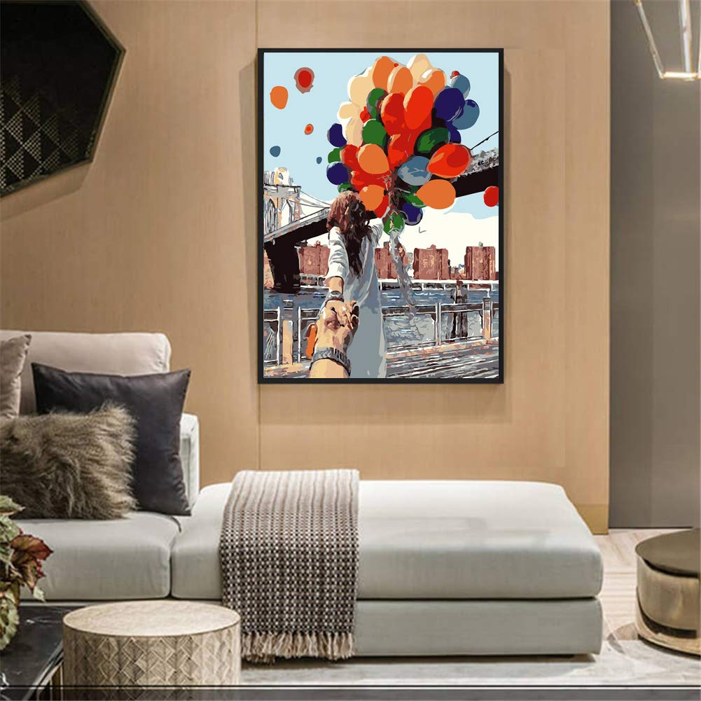 Flying Balloon House 16x20inch Paint by Number Kits with Canvas Brush Komidea DIY Paint by Numbers For Adults