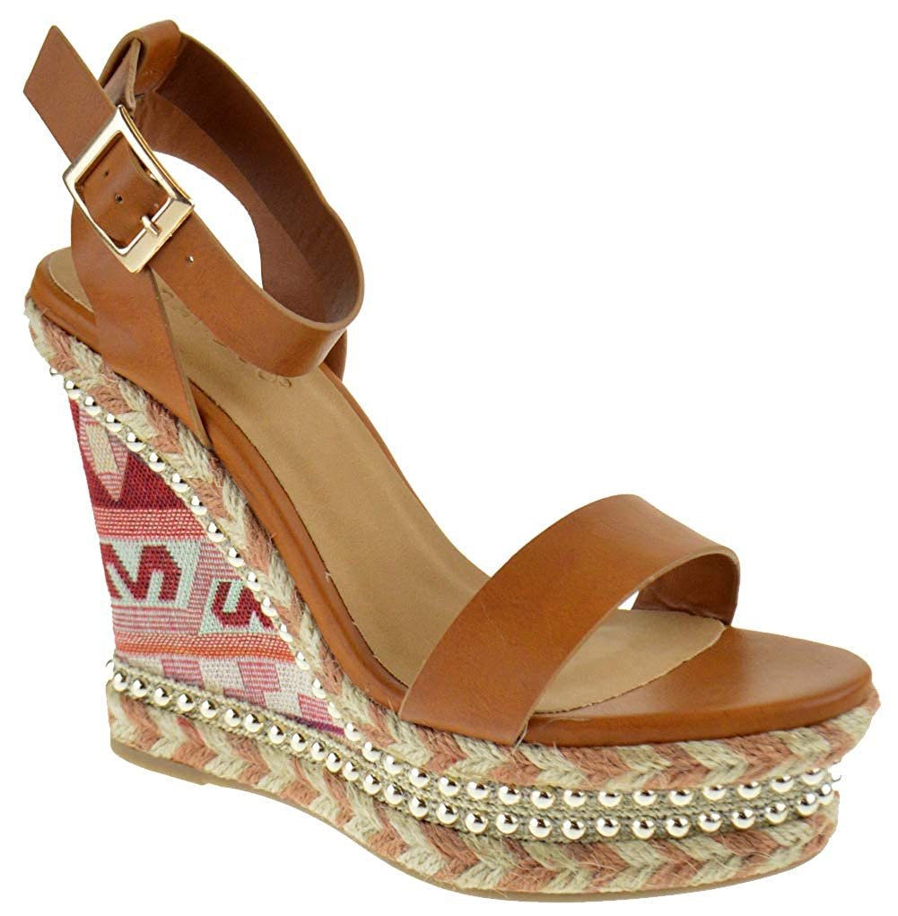 Tan Bamboo Charade 24 M Womens Fabric Lace Wedge Platform Sandals