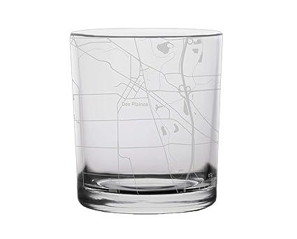 Amazon.com: Des Plaines City Map Whiskey Glass Illinois ...