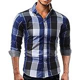 Camisas Hombre Manga Larga,Hombres Camisa Cuadros Slim fit Camisetas Blusas Tops de Hombre by Venmo