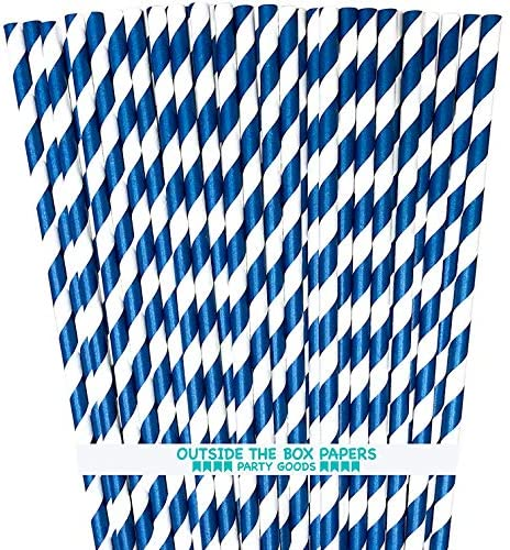 Navy Blue Stripe Paper Straws product image