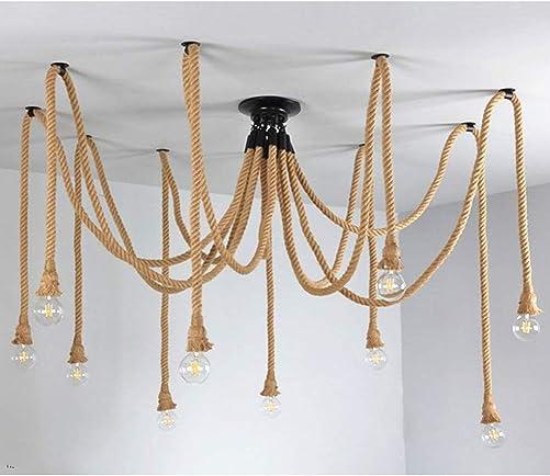 Rope Chandelier Vintage Adjustable Hemp Rope Pendant Lamp Retro Style Ceiling Light 10 Heads Lamp Fixture for Indoor Outdoor Restaurant Bar Cafe
