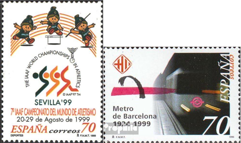 Prophila Collection España Michel.-No..: 3461,3463 (Completa.edición.) 1999 Atletismo, Metro (Sellos para los coleccionistas) vehículos sobre raíles / funicular: Amazon.es: Juguetes y juegos