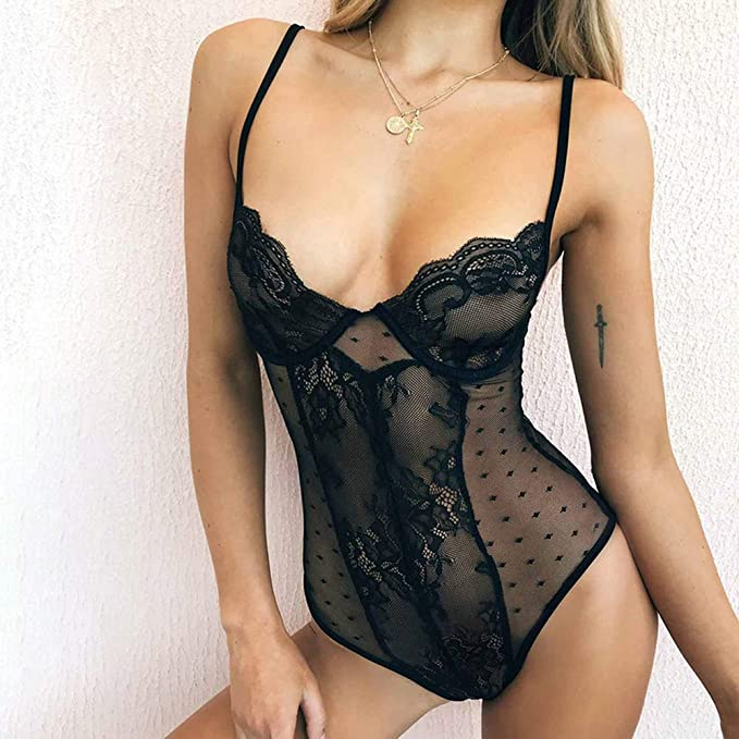af741edfab9 Image Unavailable. Image not available for. Color  See-Through Sex Bodysuit  Hot Transparent Women Teddy ...