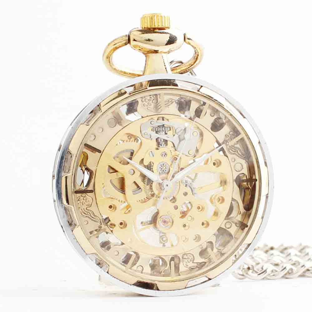 Zxcvlina Classic Smooth Exquisite Unisex Pocket Watch Transparent Women Men Golden Mechanical Pocket Watch with Chain Suitable for Gift Giving by Zxcvlina (Image #1)