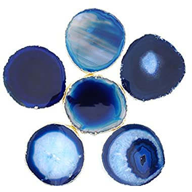 JIC Gem Golden Plated Dyed Blue Agate Coasters, 6 pcs set, 3-4 , with Rubber Bumper