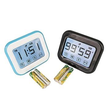 Pantalla táctil de cocina temporizador de cuenta atrás, reloj temporizador alarma, temporizador Digital de cocina reloj ...