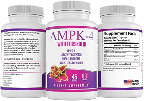 AMPK-4 Activator 90 capsules 45 Servings Boost Energy Promote Longevity Diet Weight Loss Slimmer Skinny Fatburner with Berberine and Forskolin Supports Metabolism