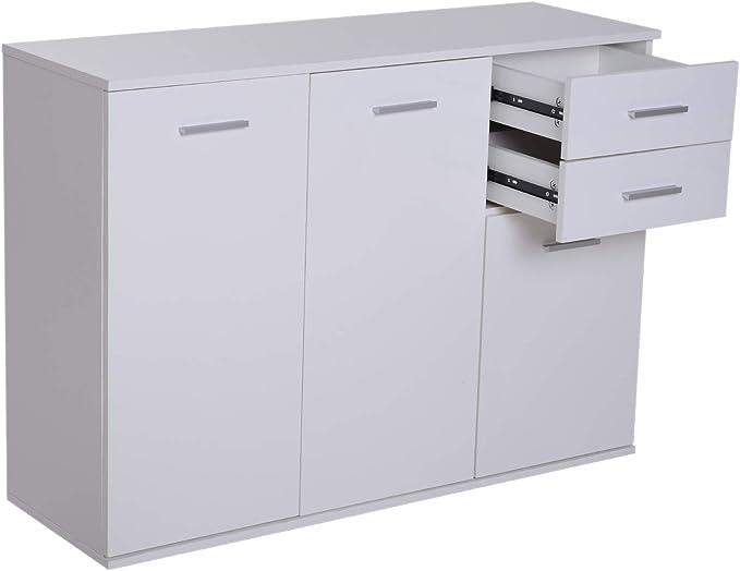 Apertura a Pressione Cucina Mobile per Soggiorno homcom Mobiletto Armadietto Multiuso 2 Cassetti e 2 Armadietti Ufficio