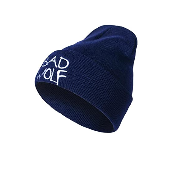 8aa5b31c8ab Image Unavailable. Image not available for. Color  Sikye Bad Wolf Letter  Embroidery Fashion Hats Wool Knitted Earmuffs ...