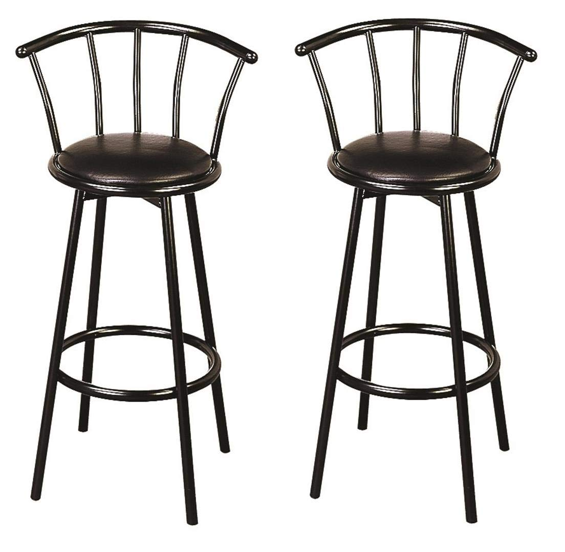 Super Coaster Co Buckner 29 Metal Bar Stools With Faux Leather Swivel Seat Set Of 2 Black Theyellowbook Wood Chair Design Ideas Theyellowbookinfo