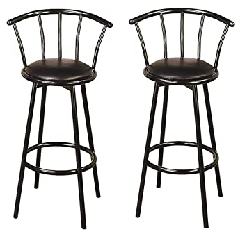 Groovy Coaster Co Buckner 29 Metal Bar Stools With Faux Leather Swivel Seat Set Of 2 Black Theyellowbook Wood Chair Design Ideas Theyellowbookinfo