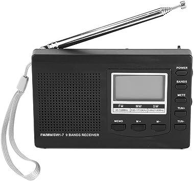 Sutinna Mini Radio Digital portátil con Auriculares, Soporte de Radio estéreo de Bolsillo FM/MW/SW con Reloj Despertador Digital Receptor de Radio FM para el hogar/Oficina/Viaje(Negro): Amazon.es: Electrónica