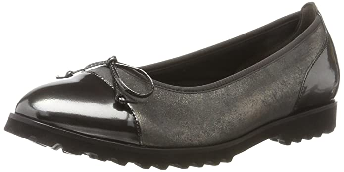 Gabor Shoes Gabor Jollys, Ballerines Femme, Gris (49 Argento/Schwarz), 36 EU