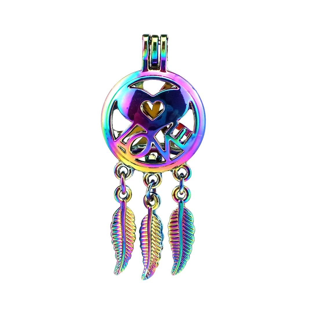 (10 Pack) Rainbow Color Dream Catcher Heart Love Pearl Beads Cage Locket Pendant Charms