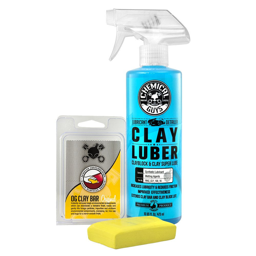 Chemical Guys Cly_113 OG Clay Bar & Luber Synthetic Lubricant Kit, Light/Medium Duty (16 oz) (2 Items)