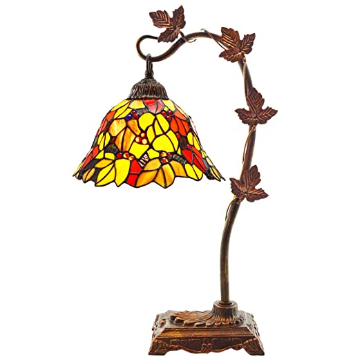 Tiffany Style Stained Glass Table Lamp 23 Inch Victorian Style Colorful Floral Leaf Accent Lamp with Vintage Bronze Tree Branch Base – High-End, Decorative Arched Lamps for Small Elegant Home Decor – Red