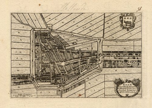 Antique Plan-EDAM-NOORD HOLLAND-NETHERLANDS-Blaeu-1649