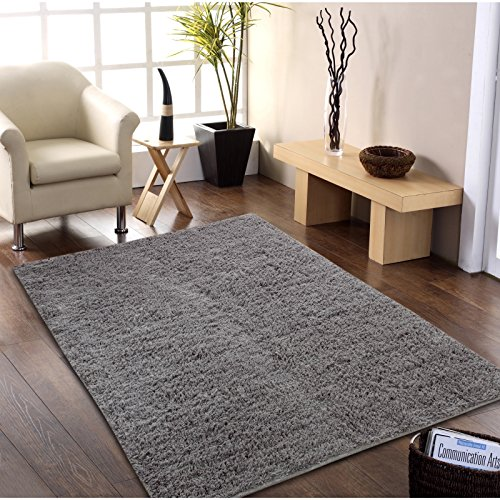 Affinity Home Collection Hand-woven Flokati Wool Shag Rug (5' x 8') - 5' x 8' Grey Hand Woven Wool Shag Rug