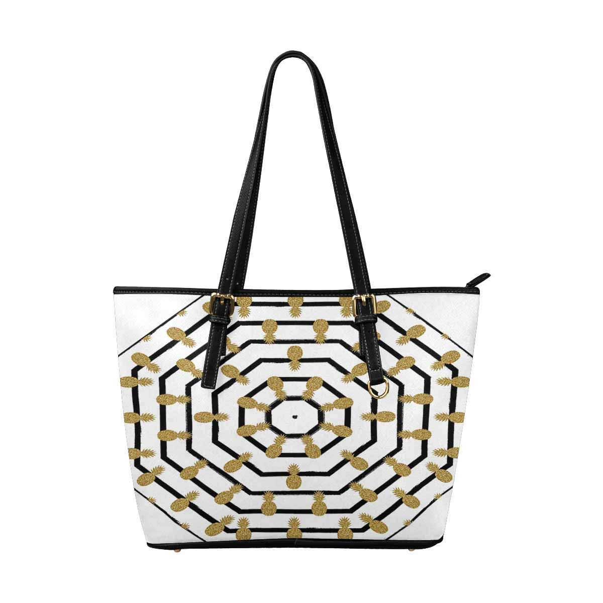 InterestPrint Top Handle Satchel HandBags Shoulder Bags Tote Bags Purse Pineapples Fruit on Black and White