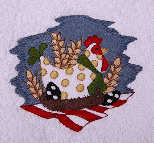 Waffle Weave Dish Towel Embroidered with Polka Dot Hen on Nest - Yellow