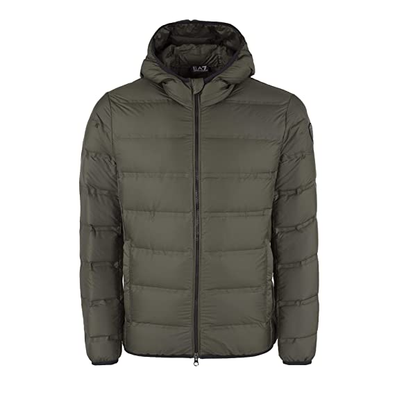 d8b53bcf80c4 Emporio Armani Mens EA7 Hooded Padded Down Jacket in Khaki  Amazon ...